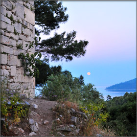 The Thassian Acropolis at Moonrise - Limenas, Thassos, Greece
